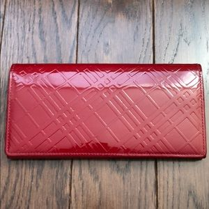 Burberry Red Monogram Patent Leather Wallet